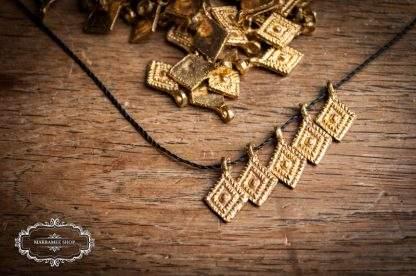 Messinganhänger Raute / Brass Pendant Diamond