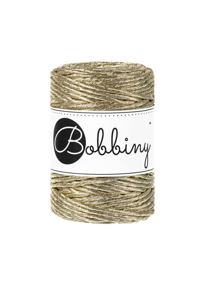 Bobbiny Makrameegarn Metallic 1fach gezwirnt 3mm Gold