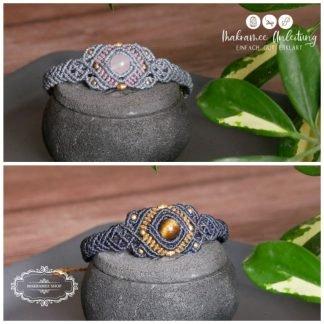 Armbandset4 DIY LINHASITA mit Rosenquarz oder Tigerauge gold