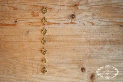 Chakren Anhänger Messinganhänger für Armband usw. mit zwei Ösen